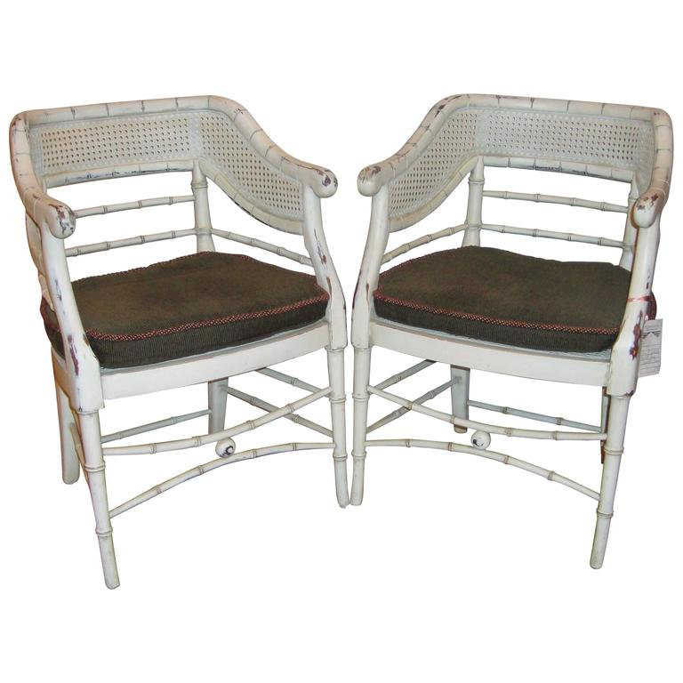 Superieur Pair Of Swedish Faux Bamboo Chairs With Distressed White Paint