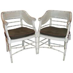 Pair of Swedish Faux Bamboo Chairs With Distressed White Paint