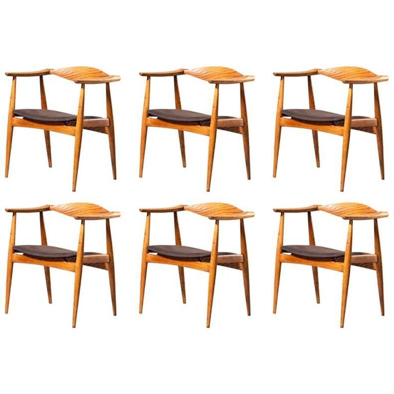 Rare Hans J Wegner Ch35 Set Of Six Oak Leather Chairs Carl Hansen Son