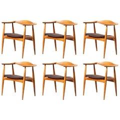 Rare Hans J. Wegner CH35 Set of Six Oak Leather Chairs Carl Hansen & Son