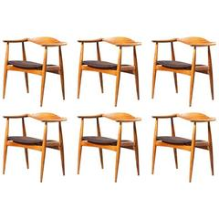 Rare Hans J. Wegner CH35 Set of Six Oak Leather Chairs Carl Hansen & Son