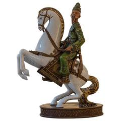 Soldier on Horse Asian Ceramic Statue