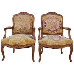 Pair of 19th Century French Louis XV Style Fauteuils with Needle Point Tapestry