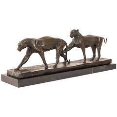 Pair of Bronze Panthers Sculpture