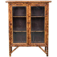20th Century English Bamboo Double Door Cabinet