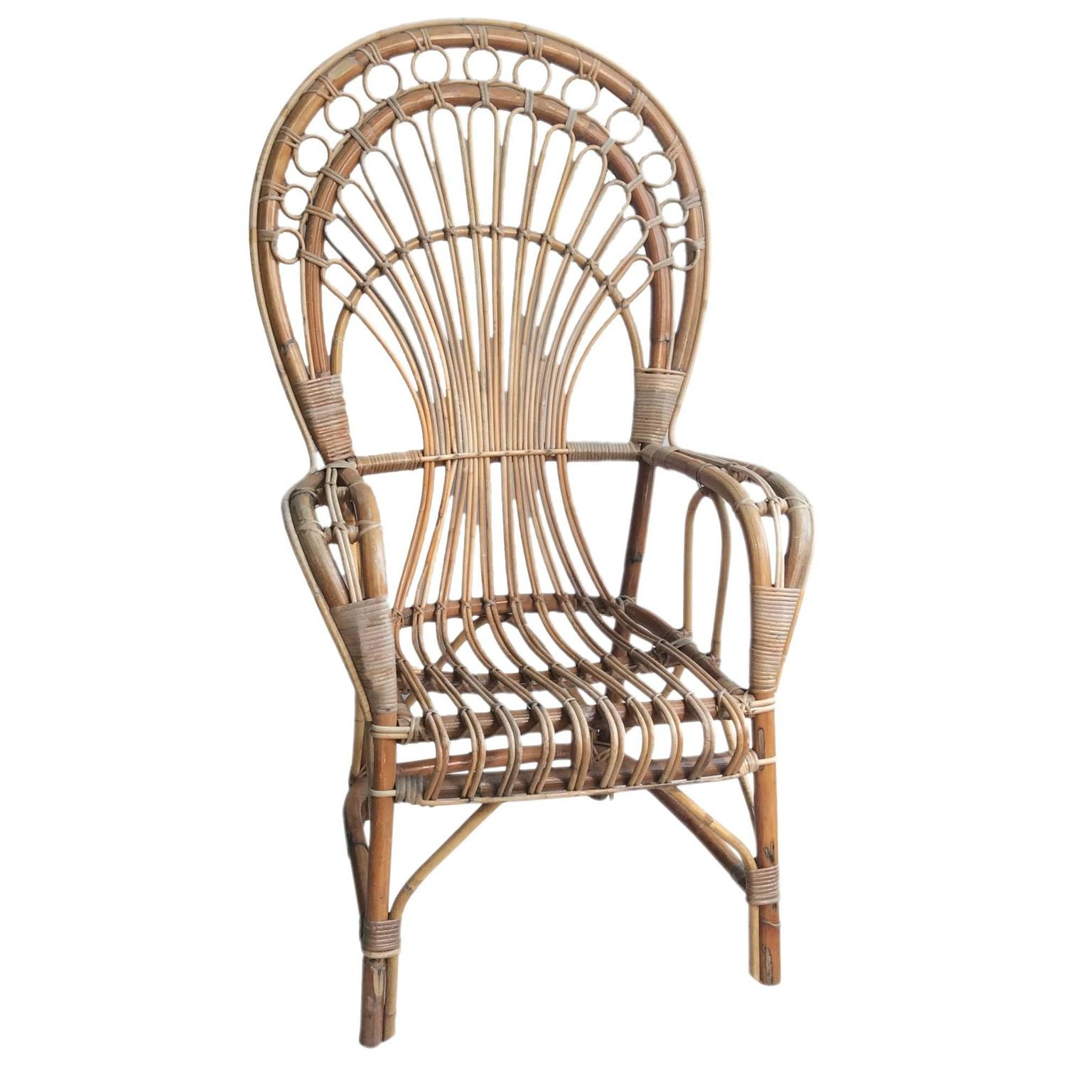 Iconic Rattan Peacock Chair 1970s For Sale at 1stdibs