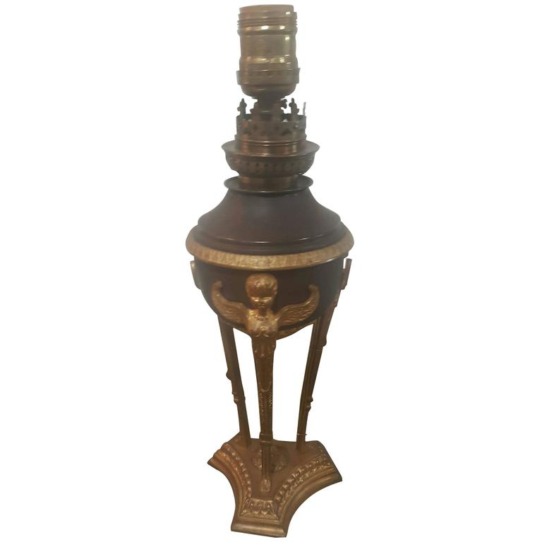19th Century French Empire Lamp, Doré Bronze with Cherub Detail 1