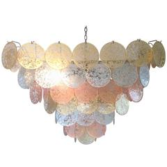 Square Gold, Silver and Copper Disc Large Chandelier