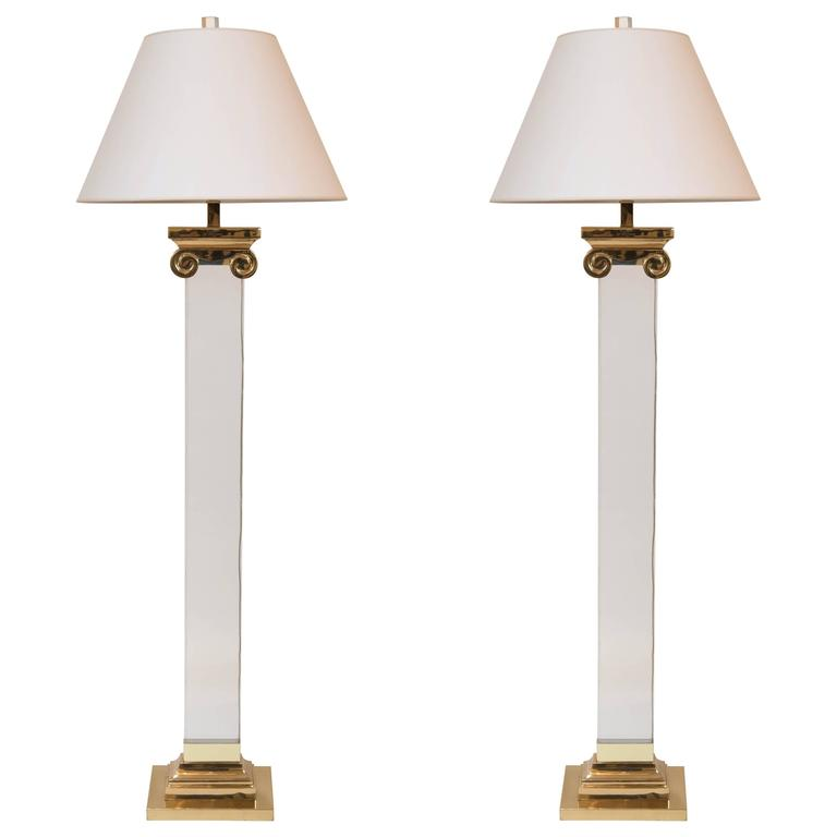 Pair of Acrylic and Brass Neoclassical Column Floor Lamps 1