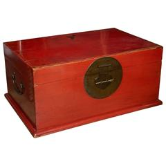 Red Lacquered Wood Trunk