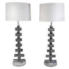 A Matched Pair of Italian Steel and Marble Floor Lamps