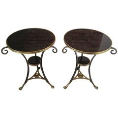 Pair of Neoclassical Bronze and Wood Gueridons