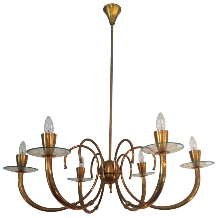 brass and glass fontana arte style chandelier 1960 39 s for. Black Bedroom Furniture Sets. Home Design Ideas