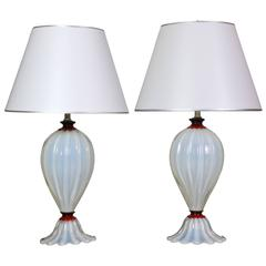 A Pair of Murano White Opaline and Ruby Red Glass Lamps