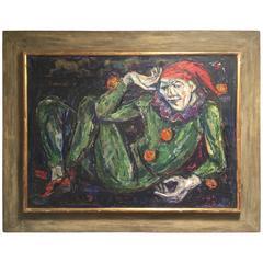 II Pensieroso Emanuel Glicen Romano Oil Painting Original Modernist Style Frame