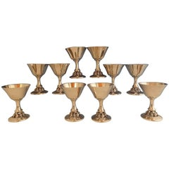 Woodside Sterling Silver Grapes & Leaves Wine Cup Set 10-Piece 1940s Hollowware