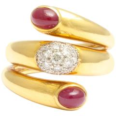 Art Deco Double Ruby and Diamond Snake Style Ring