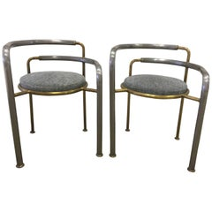Thygesen and Sorensen Iron & Brass Chairs, Pair