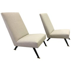 Pair of French Sleek Lounge Chairs