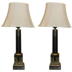 Pair of Antique Tole Painted Ebonized and Gilt Decorated Empire Style Lamps