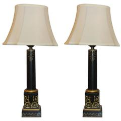 Pair of Antique Ebonized and Gilt Decorated Empire Style Lamps