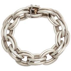 Vintage Hermes Heavy Linked Silver Chain Bracelet