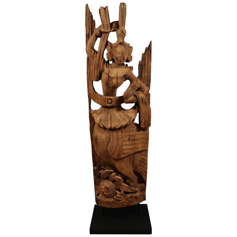 Early 20th Century Carved Wood Kinnari (Female) Figure, Burma