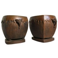 Pair of Japanese Art Nouveau Bronze Hibachi Planters
