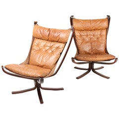 Pair of Falcon Chairs in Patinated Leather