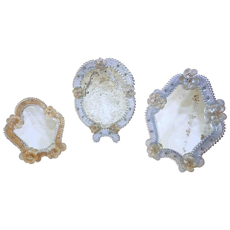 Set Of Three Floral Venetian Glass Murano Table Mirrors For Sale