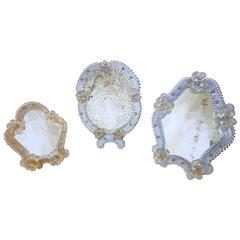 Set of Three Floral Venetian Glass Murano Table Mirrors