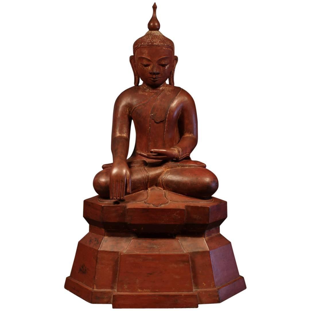 19th Century Carved Wood Seated Buddha, Burma (Myanmar)