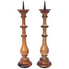 Pair of Large Pricket Candleholders of Olivewood from Italy, circa 1800