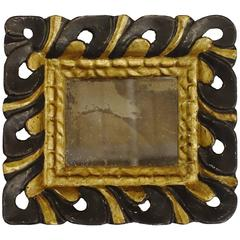 19th Century Black/Gold Carved Frame Mirror, Spain