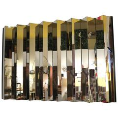 Striking, 1970s Zig-Zag Multifaceted Large Mirror Pop Space Age
