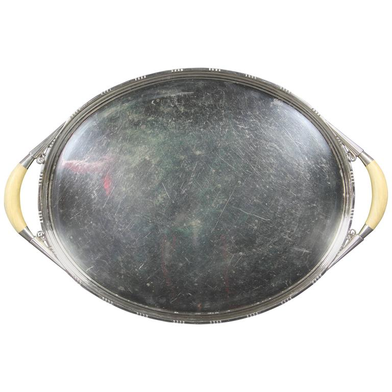 Georg Jensen Sterling Silver Tray For Sale