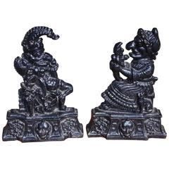 Pair of English Large Cast Iron Punch & Judy Doorstops, Circa 1880
