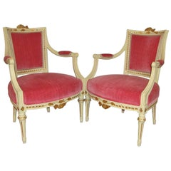 Pair of Carved Fauteuils by Gustavian Side Chairs by Maison Jansen