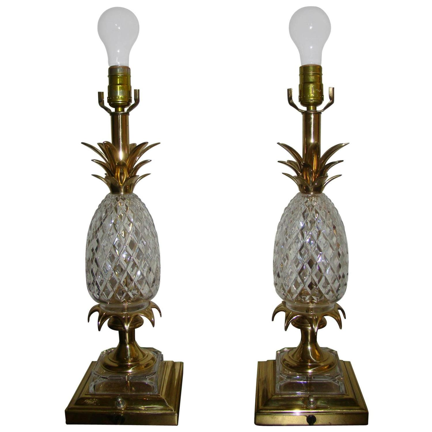 pair of brass and cut crystal pineapple lamps for sale at 1stdibs. Black Bedroom Furniture Sets. Home Design Ideas