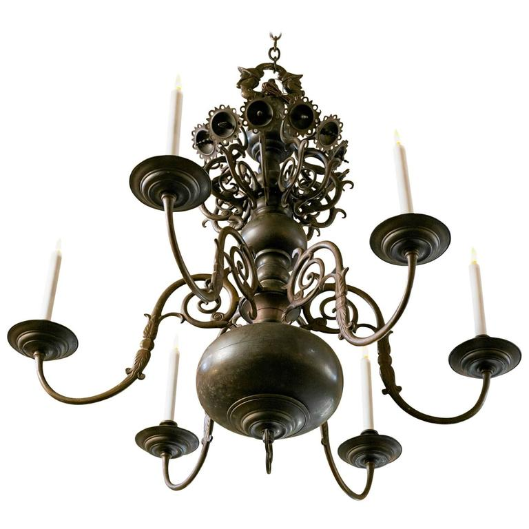 Magnificent Bronze Dutch Baroque Flemish Style Chandelier from Belgium circa 188 1