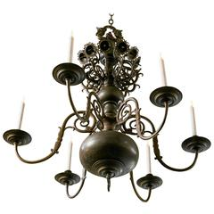 Magnificent Belgian Bronze Dutch Baroque-Style Chandelier, circa 1880