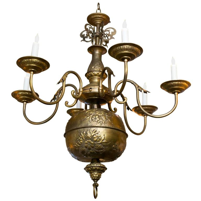 Antique Brass Floral Repousse Six Arm Chandelier From