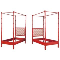 Pair of Red Painted Four Poster Single Bed Frames