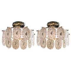 Pair of Italian Glass Flush Mount Lights, Attributed to Mazzega