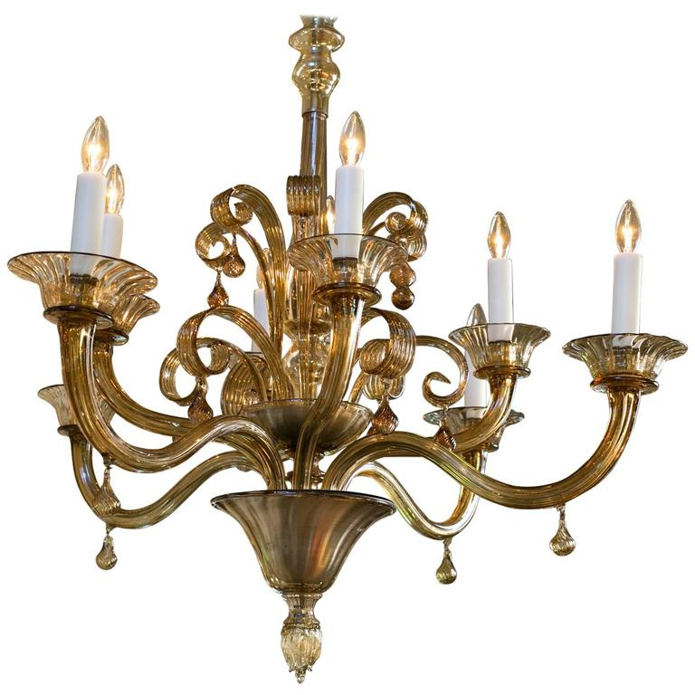 Amber Colored Brown Hand Blown Murano Glass Chandelier At