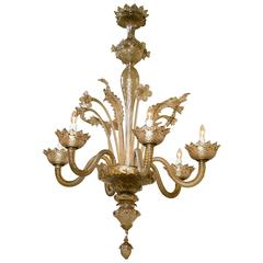 Unusual Vintage Murano Chandelier with Six Arms