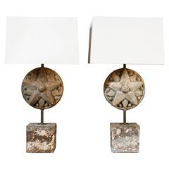 Pair of Antique Iron and Wood Star Medallion Table Lamps with Shades