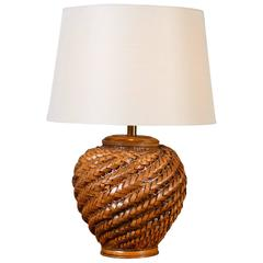 Vintage Rattan Table Lamp with Shade