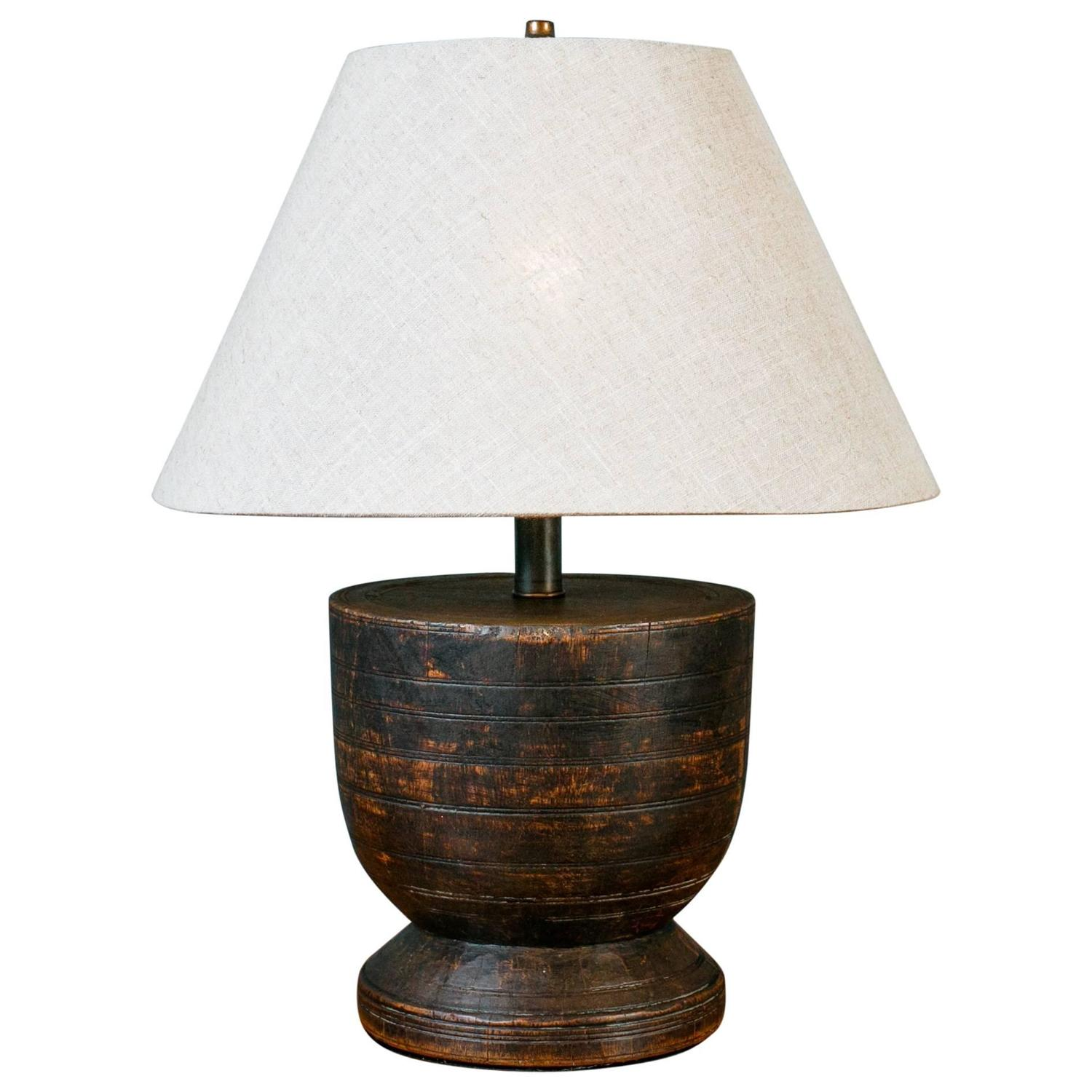 chunky wood table lamp with linen shade at 1stdibs. Black Bedroom Furniture Sets. Home Design Ideas