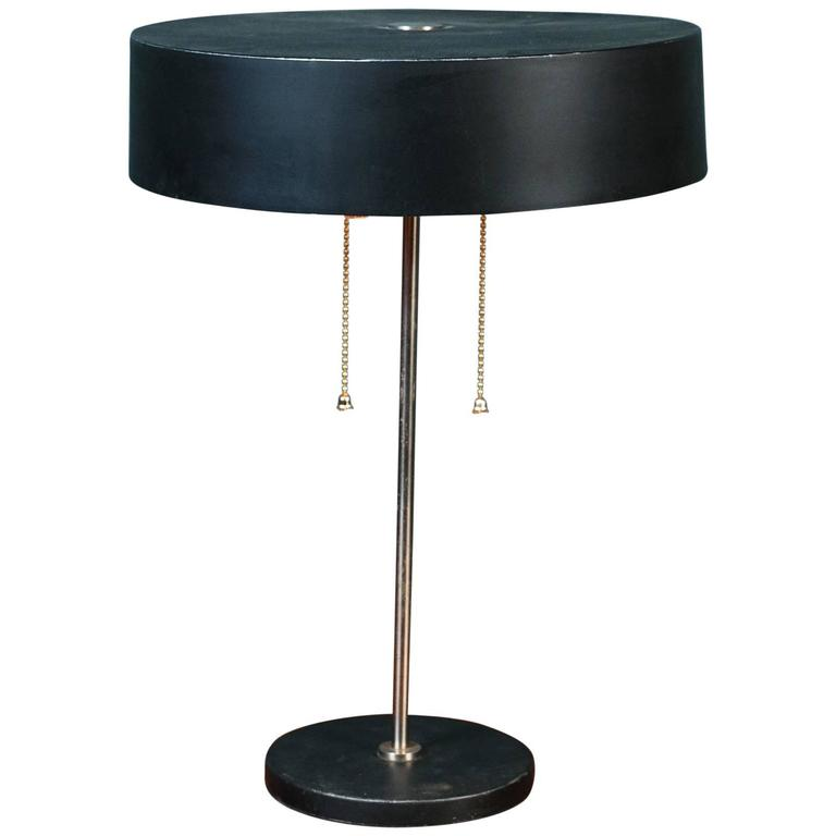 Philips Wall Lamp Shades : Brown Mid-Century Modern Table Lamp with Metal Shade Attributed to Philips For Sale at 1stdibs